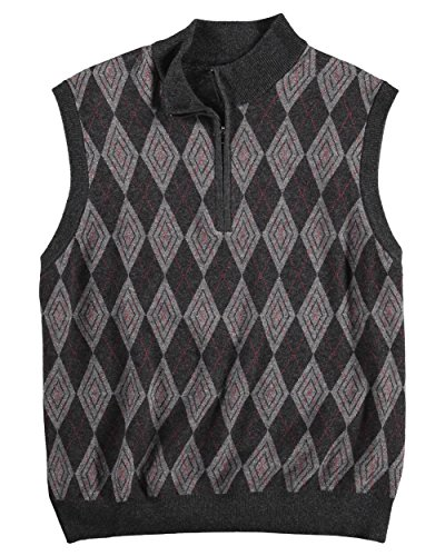 Greg Norman Men's Argyle Diamond 1/4 Zip Mockneck Sweater Vest, Grey (Medium) ()