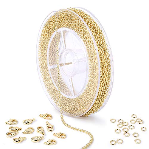 33 Feet Gold Cable O Chain Spool with 4mm Jump Ring and Lobster Clasps Bulk for Craft DIY Jewelry Making
