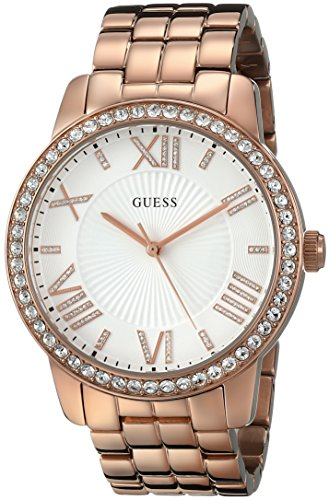 GUESS Women's U0329L3 Dazzling Oversized Rose Gold-Tone Watch with Genuine -