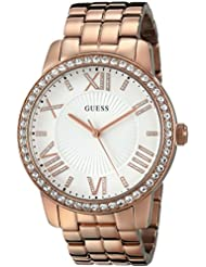 GUESS Womens U0329L3 Dazzling Oversized Rose Gold-Tone Watch with Genuine Crystals
