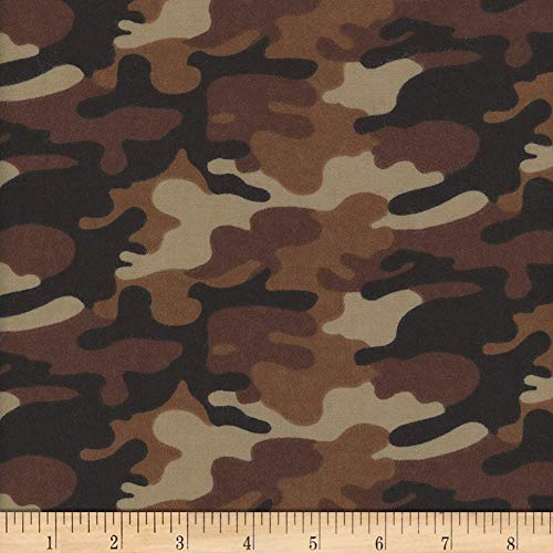 Mook Fabrics USA LP Flannel Camo Fabric, Brown, Fabric By The ()