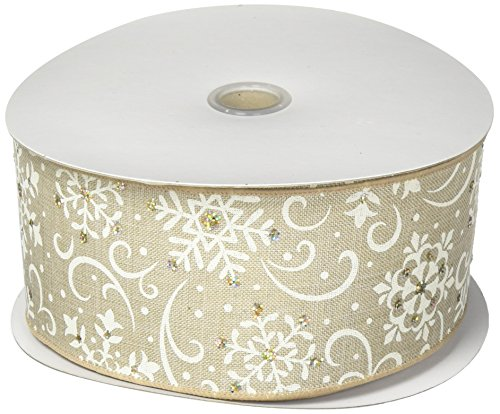 Burton and Burton 9728037#40 Ivory Snowflakes Linen Wired Ribbon, Multicolor