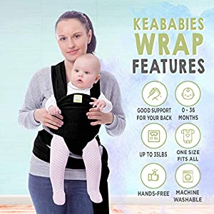Baby Wrap Carrier by KeaBabies – All-in-1 Stretchy Baby Wraps – 3 Colors – Baby Sling – Infant Carrier – Hands-Free Babies Carrier Wraps   Great Baby Shower (Trendy Black)