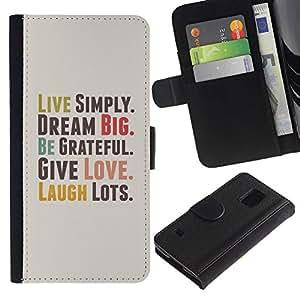 KLONGSHOP / Tirón de la caja Cartera de cuero con ranuras para tarjetas - Live Simply Dream Grateful Love Quote Laugh - Samsung Galaxy S5 V SM-G900