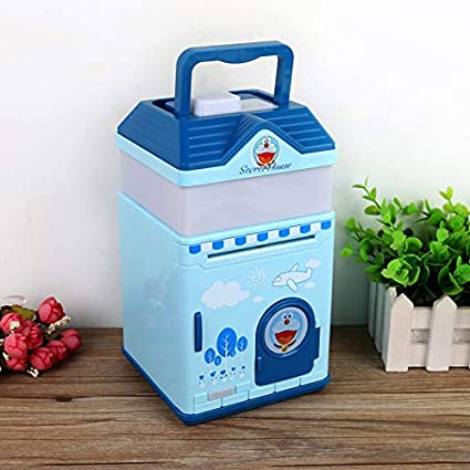 Secret House-Blue kingsida New Great Gift Toy for Kids Electronic Piggy Bank Mini ATM Electronic Coin Bank Coin Box for Kids Fun Toy.