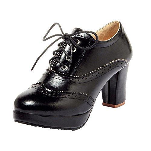 Noir Haut Femme AllhqFashion Lacet Légeres Unie Cuir Chaussures Talon à PU Couleur Rond S7fRwq