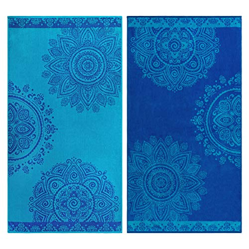 Superior 100% Egyptian Cotton, 450 GSM, Floral Mandala Oversized Beach Towel (Set of 2) 34