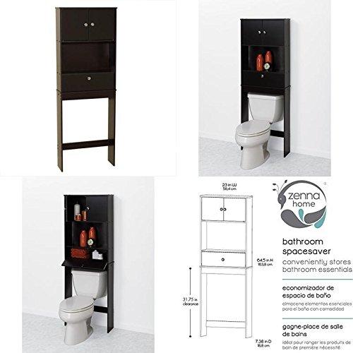 GOOD MEDIA Over The Toilet Shelf Bathroom Black Cabinet Space Saver Towel Storage Organizer ✅
