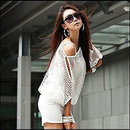 589384ed6 Sunglow playa para mujer Batwing hueca de malla vestido Ladies ...