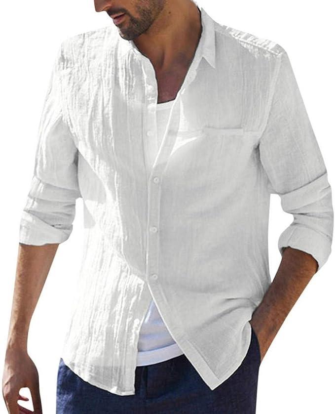 Männer Freiziet Langarm Hemd Business Slim Fit Shirt Gedruckt Revers Bluse Tops