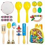 Innocheer Kids 17 pcs Musical Instruments & Percussion Toy Rhythm Band Set Preschool Educational Musical Toys