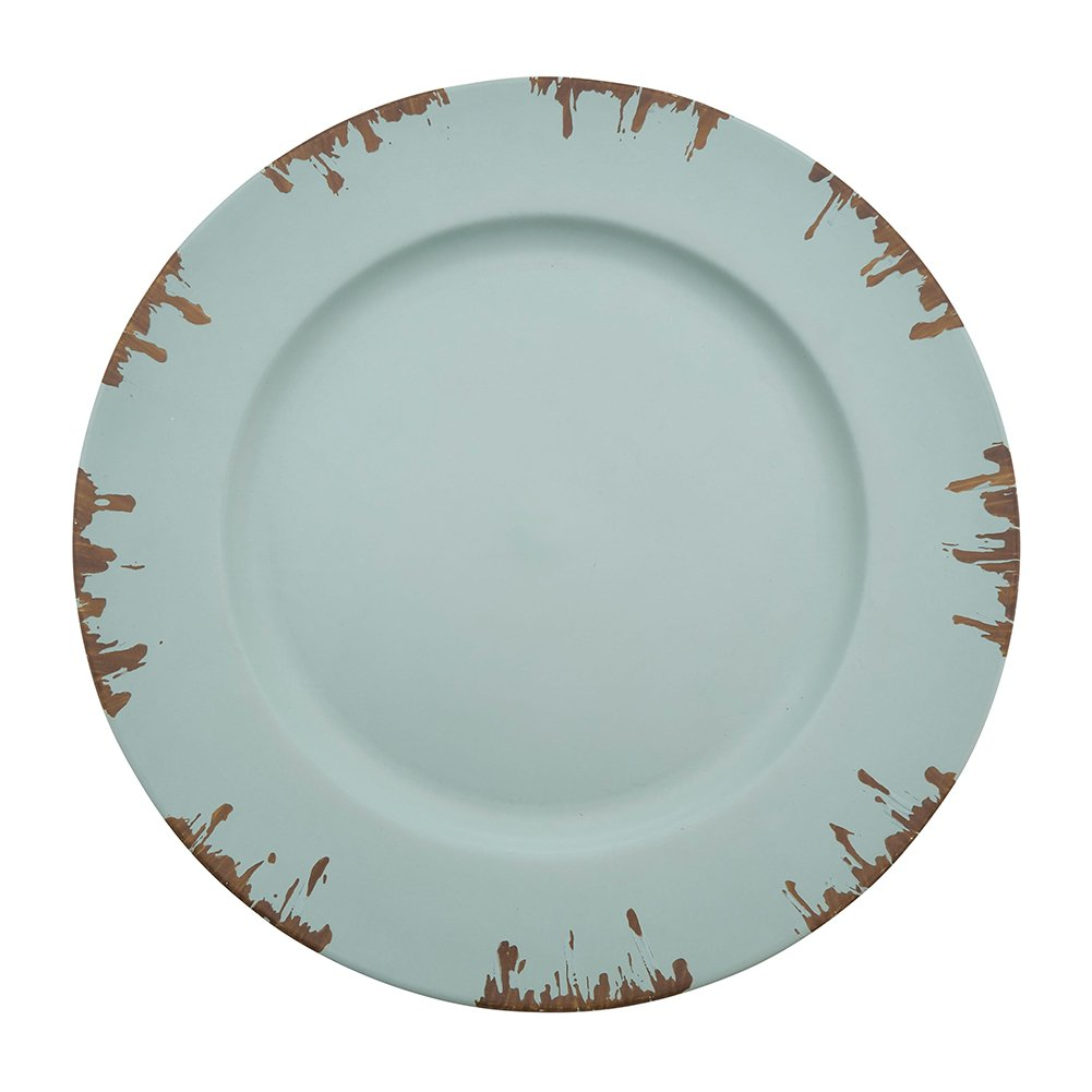 Fennco Styles Decorative Distressed Edge 13'' Charger Plates-Set of 4 (Blue)