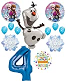 Mayflower Products Frozen 4th Birthday Party Supplies Olaf, Elsa and Anna Balloon Bouquet Decorations Blue #4