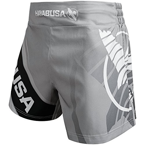Hayabusa Kickboxing MMA Shorts (Grey/White, (Thai Kickboxing Shorts)