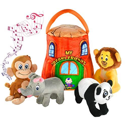 Gift for 1-5 year old EDUCATIONAL Plush Toy Talking Animal Set, Stuffed Animals, Elephant Monkey Lion & Panda Baby Toddler Toys, FEATURING 4 ADORABLE AUDIOS