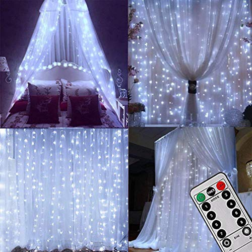 LIGHTESS 300 LED String Fairy Light Outdoor/Indoor Curtain Lights Remote Control for Holiday Christmas Decorations (Cold White)