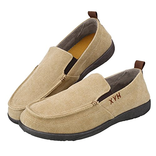 Sibba Mens Classic Slip-on Canvas Loafer Summer Boat Shoes Khaki