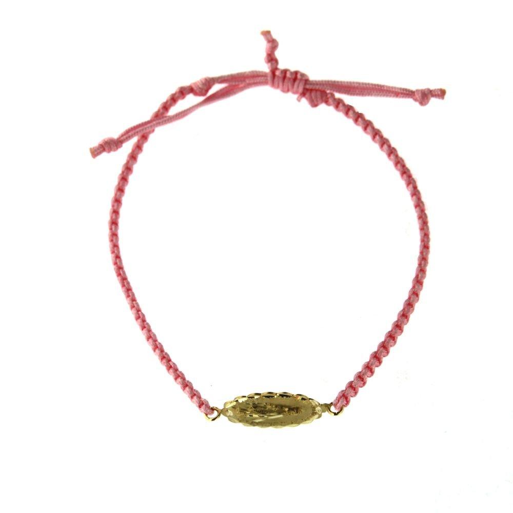 18KT Yellow Gold Milagrosa medal Cord Pink Bracelet