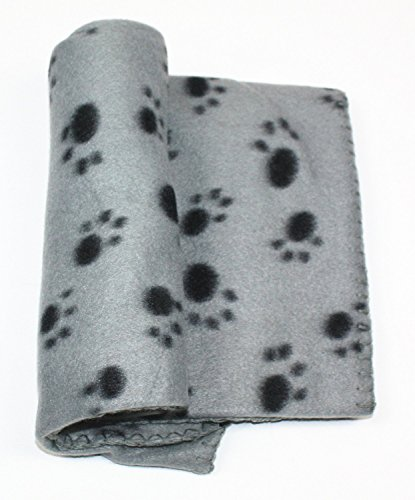 PAWZ Road Lovely Pet Paw Prints Fleece Blanket Grey Size Sma