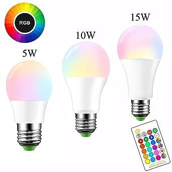 Toomlight A19 E27 bombilla de luz LED regulable, 5W 10W 15W RGBW bombillas LED,