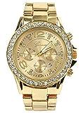 Brothers-USA Women's Geneva Luxury Alloy Analog Quartz Golden Watch