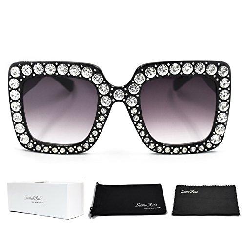 SamuRita Elton Square Diamond Rhinestone Sunglasses Novelty Oversized Celebrity Shades(Black Frame/Black Gradient (Novelty Contact Lens)