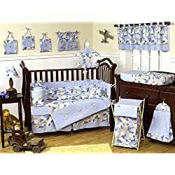 Sweet Jojo Designs Khaki and Blue Camo Camouflage Military Baby Boy Bedding 9pc Crib Set