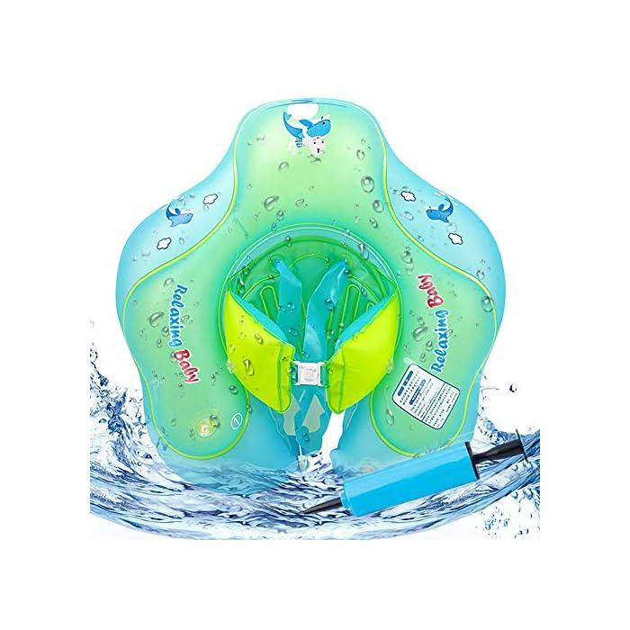 51buM5gNEfL Flotador de natación para bebés con asiento y axila de chaleco: es el flotador de bebé de gran diseño con asiento y respaldo ajustable para que el bebé se divierta en la piscina o en la playa Hecho de calidad ambiental de PVC: material duradero e impermeable, no tóxico y seguro para tocar la piel suave del bebé. El proceso y el diseño cumplen los requisitos de las normas internacionales de seguridad de los juguetes. Garantizar la seguridad: 3 diseños de bolsas de aire independientes, cada bolsa de aire se puede inflar por separado para garantizar la seguridad del niño.