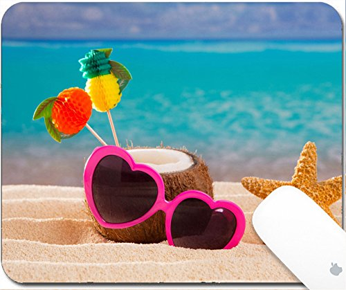 Mexican Sand Shape (Luxlady Gaming Mousepad 9.25in X 7.25in IMAGE: 19616576 Coconut cocktail on tropical white sand beach heart shape funny sunglasses)