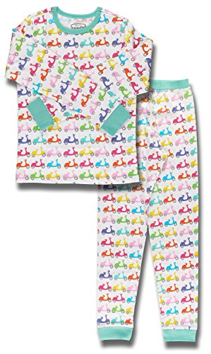 Trimfit Girls' Big Organic Cotton 2-Piece Long Sleeve Dreamwear Pajama Set, Scooters, Small / 6-8