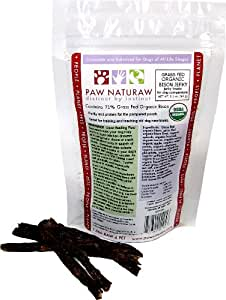 Paw Naturaw Organic Grass Fed Bison Jerky Treats for Dogs (12-Count), 2.1-Ounce Pouches (Pack of 4)