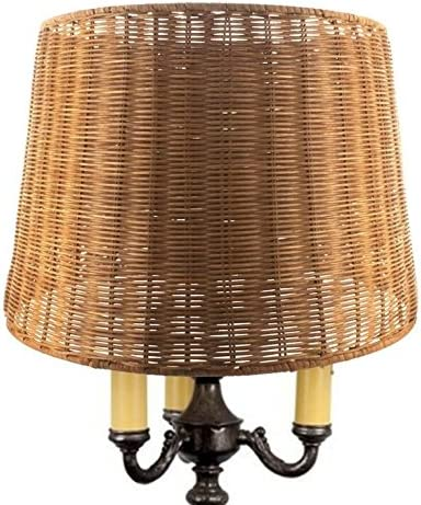 Upgradelights Medium Brown Woven Wicker 16 Inch Floor or Table Lampshade 14x16x11.75