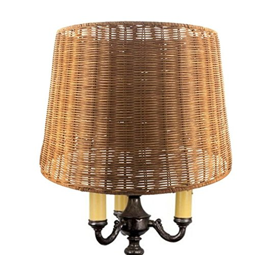 Upgradelights Medium Brown Woven Wicker 16 Inch Floor or Table Lampshade (Wicker Light Brown Lamp Shades)