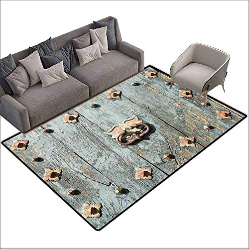 Bath Rug Slip Rustic European Cathedral with Rusty Old Door Knocker Gothic Medieval Times Spanish Style Quick and Easy to Clean W6' x L6'10 Turquoise
