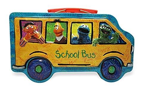 Sesame Street Tin Pencil Case or Crayon Box - School Bus Shape with Big Bird,Bert, Ernie, Elmo and - Elmos Shape