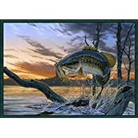 Strike King Rug 37x52 WIlderness Lake Pond Pine Carpet Fishing Flooring Decor
