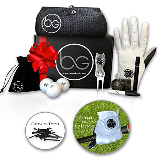 Boxed Golf Premium Golf Gifts for Men & Women Best Personal Gift Box | Complete Golfing Set with Accessories - Unique Gift Baskets Idea for Golfers Birthdays - Great Fathers Day Basket for Dad (Tool Basket Gift Ideas)
