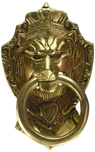 Two Moustaches Brass Victorian Style Lion Mouth Door Knoc...