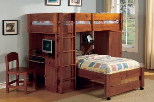 Amazon Com Inland Empire Furniture Hartford Ii Oak Solid Wood Junior Loft Twin Twin Bed Set Furniture Decor