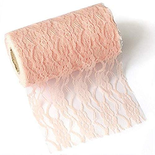 Breeze Talk Lace Ribbon Roll Fabric Blush 6 inch x 24 Yards for Burlap Lace Table Runner Chair Bow Ties Boho Vintage Woodland Greenery Wedding Bridal & Baby Shower Party (Blush, 6 inch x 24 Yards)