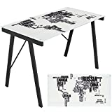 WOYBR OFD-TM-PGWORLD Glass, Steel, Graphic Exponent Desk For Sale