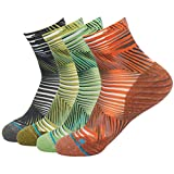 Dri Fit Workout Socks, HUSO Novelty Crazy Striped Moisture Absorb Short Ankle Running Socks 4 Pairs for Men Women (Multicolor, L/XL)
