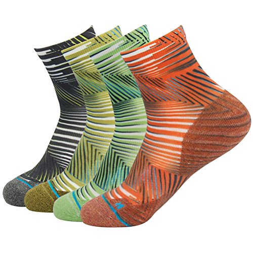 Dri Fit Workout Socks, HUSO Novelty Crazy Striped Moisture Absorb Short Ankle Running Socks 4 Pairs for Men Women (Multicolor, L/XL) by HUSO