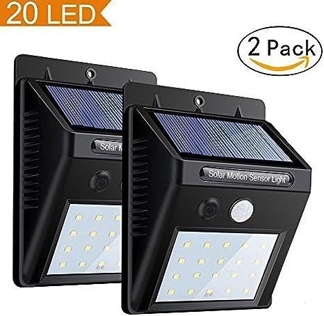 LED Solar Wall Light Power PIR Motion Sensor Outdoor Garden Lamp Waterproof