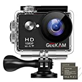 GeeKam W9 Action Camera 1080P Full HD 12MP Underwater Sports Cam with WiFi Waterproof 30m 2' LCD 170 Degree Wide-Angle and 2 PCS Rechargeable Batteries and Mounting Accessories Kit
