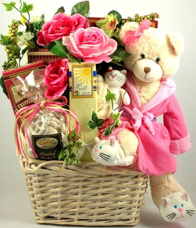 Hugs and Love to Get Well | Get Well Gourmet Gift Basket with Plush Teddy Bear by Organic Stores