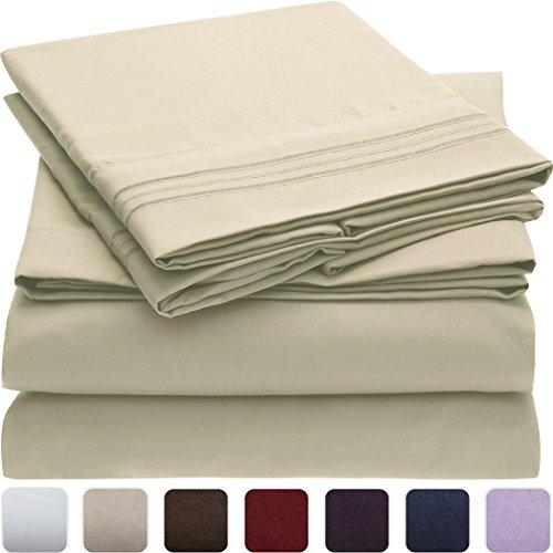Mellanni Bed Sheet Set - HIGHEST QUALITY Brushed Microfiber 1800 Bedding - Wrinkle, Fade, Stain Resistant - Hypoallergenic
