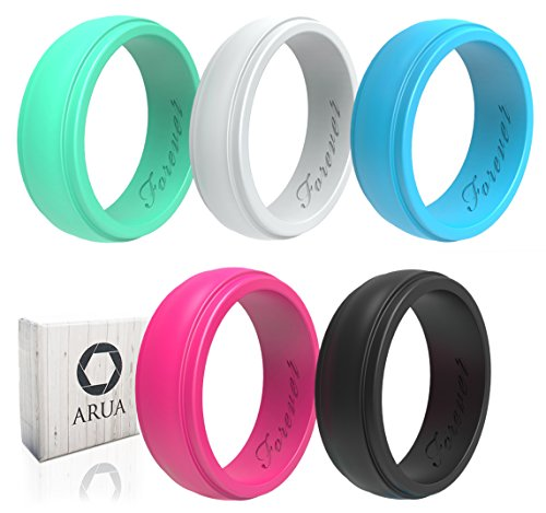ARUA Women's Silicone Rings | 5 Glossy Wedding Bands |Gift Box Included | Comfortable Rubber Rings for Active Ladies