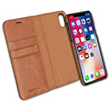 iPhone X Detachable Wallet Case Brown - KANVASA Premium Genuine Leather 2 in 1 Flip Folio Book Magnetic Cover for the Original iPhone X/iPhone 10 (5.8'') - Supports Wireless Charging Qi