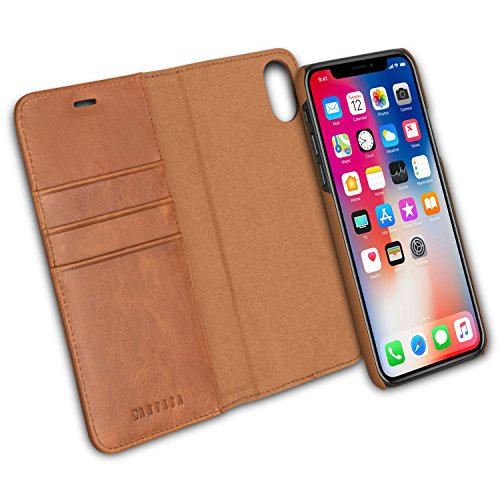 iPhone X Detachable Wallet Case Brown - KANVASA Premium Genuine Leather 2 in 1 Flip Folio Book Magnetic Cover for the Original iPhone X/iPhone 10 (5.8'') - Supports Wireless Charging Qi by KANVASA